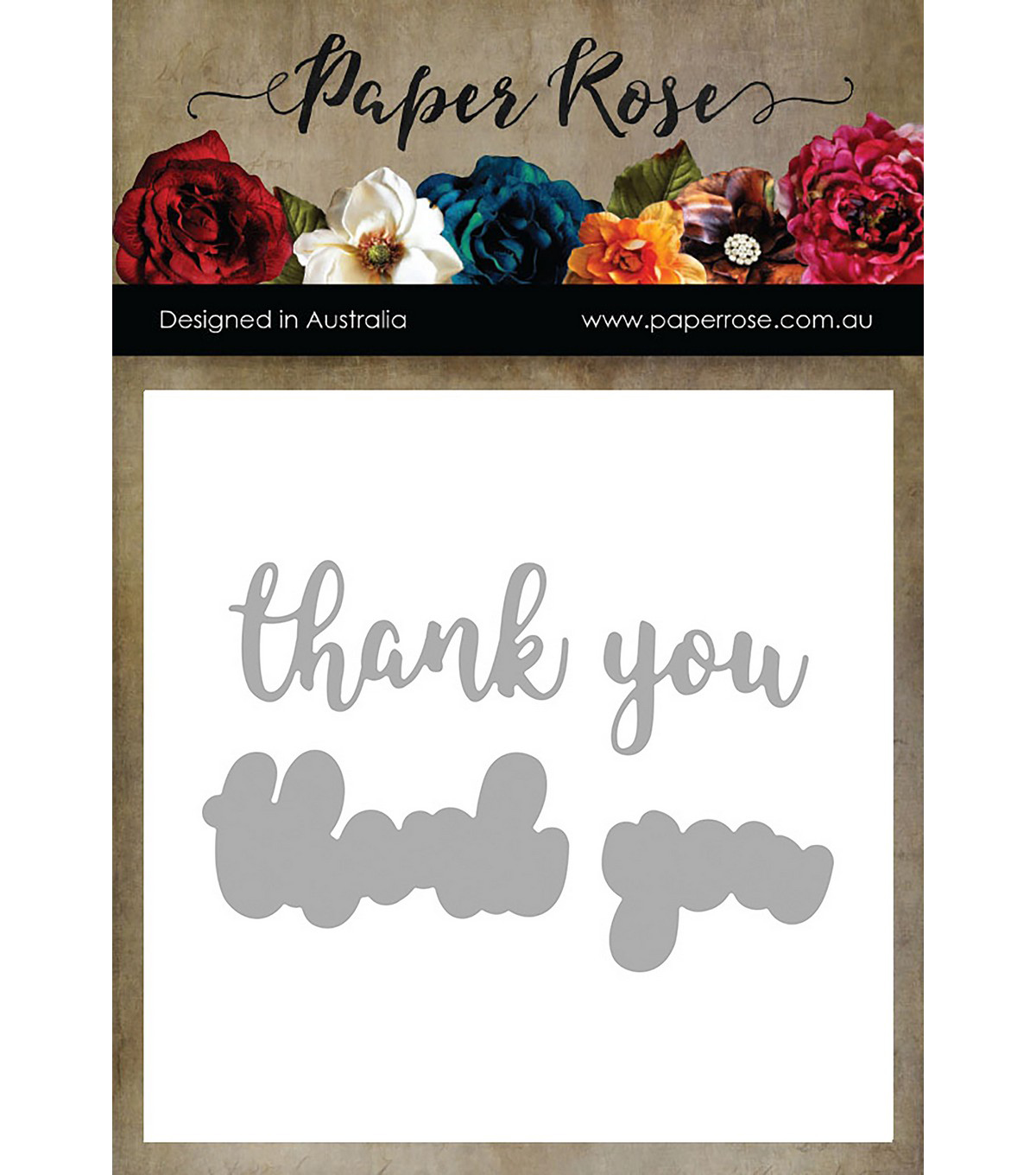 Paper Rose 4 pk Layered Metal Dies-Thank You