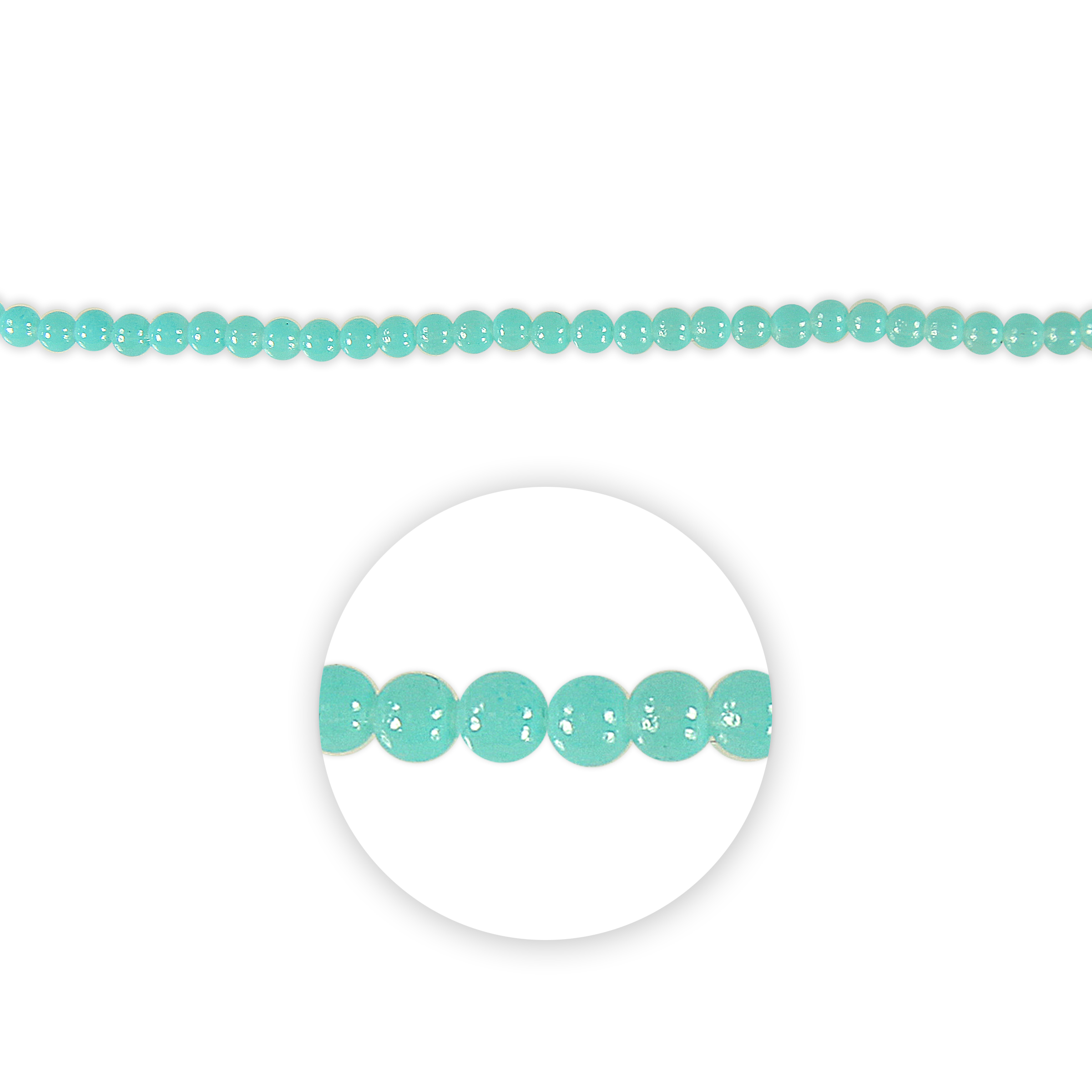 Blue Moon Beads Strand 7\u0022 Glass Round, Turquoise 4mm
