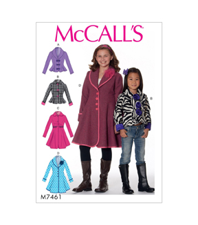 McCall\u0027s Pattern M7461 Girls\u0027 Peter Pan or Shawl Collar Jackets & Coats, 3-4-5-6