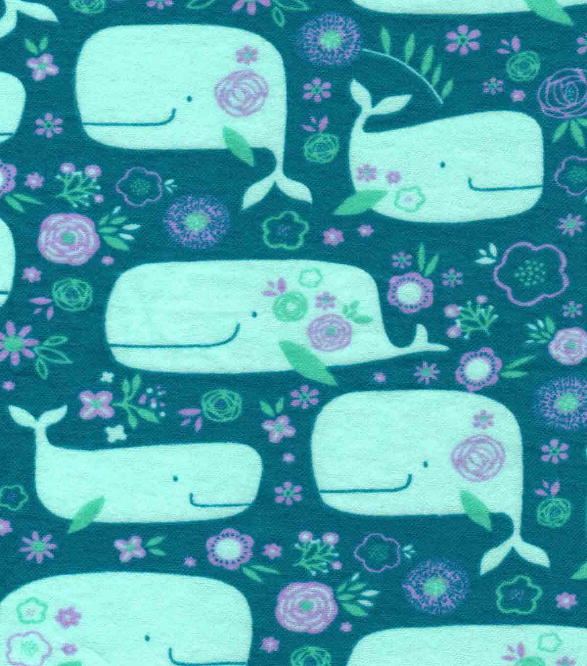 Snuggle Flannel Fabric -Pretty Whales