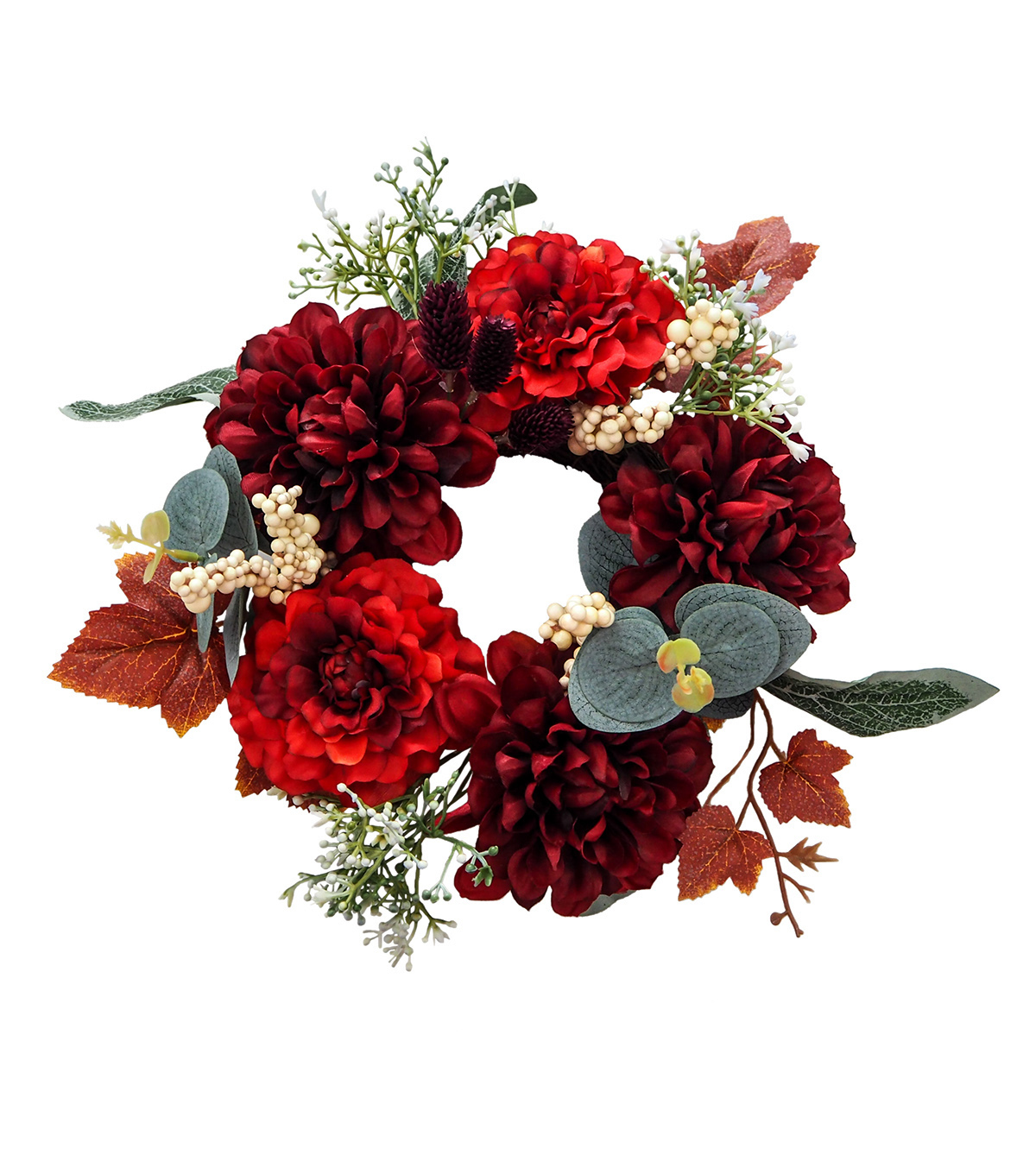 Blooming Autumn Frosted Protea & Berries Mini Wreath-Burgundy