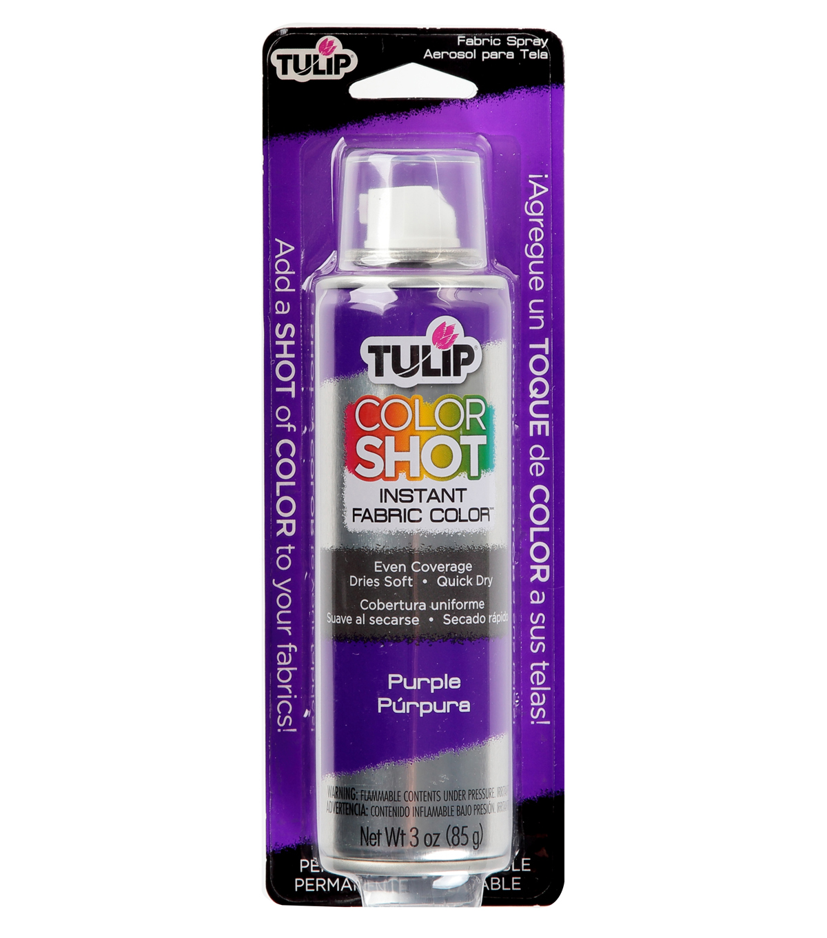 Tulip ColorShot Instant Fabric Color Spray 3oz, Purple