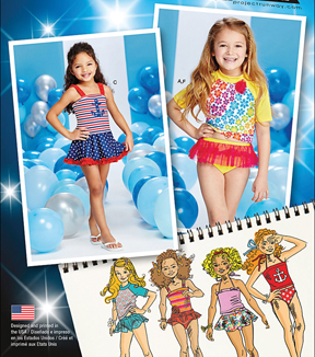 Simplicity Patterns Us1120A-Simplicity Child\u0027S Rash Gaurd And Bathing Suit Pieces-3-4-5-6-7-8