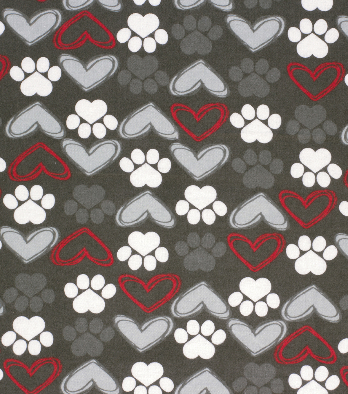 Super Snuggle Flannel Fabric-Sketched Hearts & Paws Coral and Mint