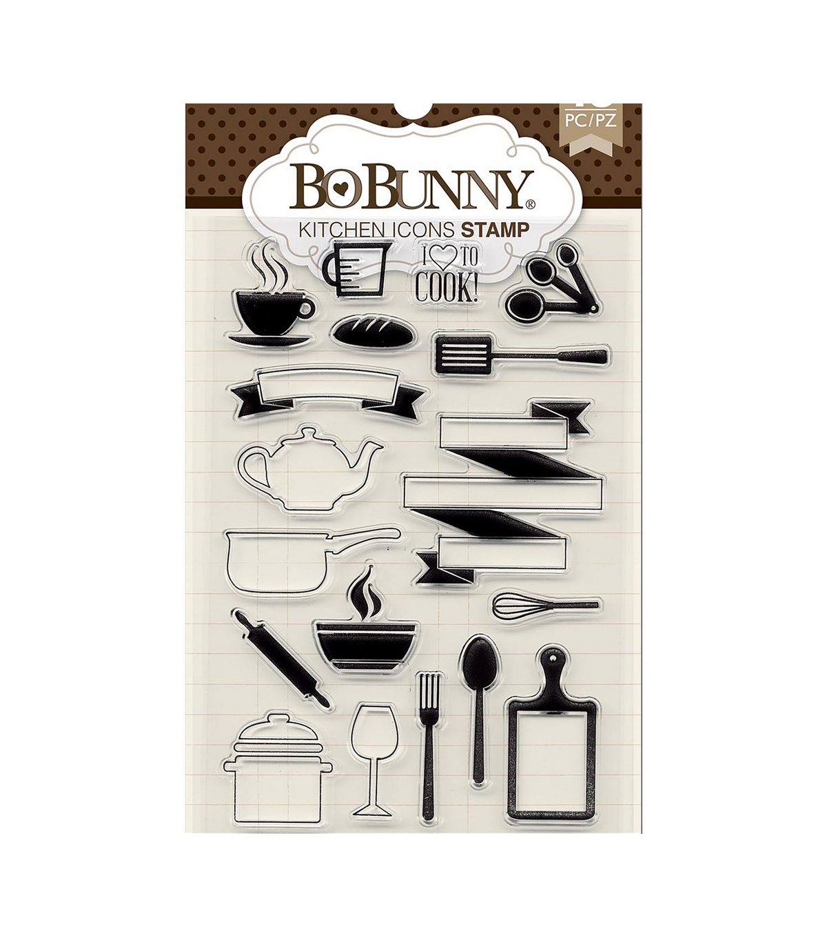 BoBunny 18 pk Clear Stamps-Kitchen Icons