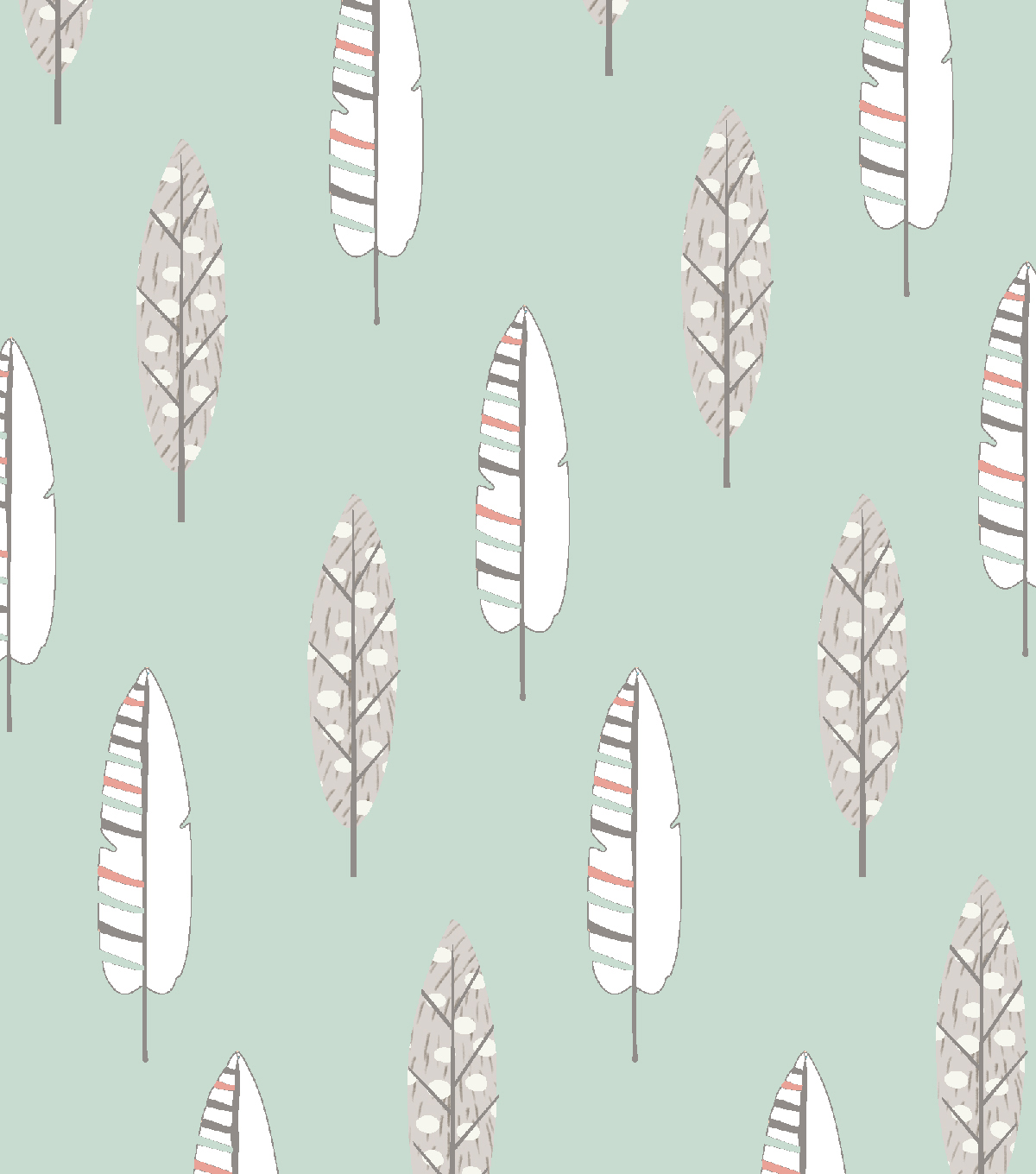 Nursery Flannel Fabric -Feathers on Mint