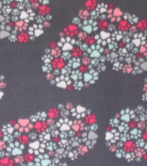 Blizzard Fleece Fabric -Paw Prints & Heart Cluster