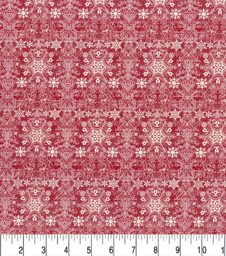 Christmas Cotton Fabric-Intricate Snowflakes on Red