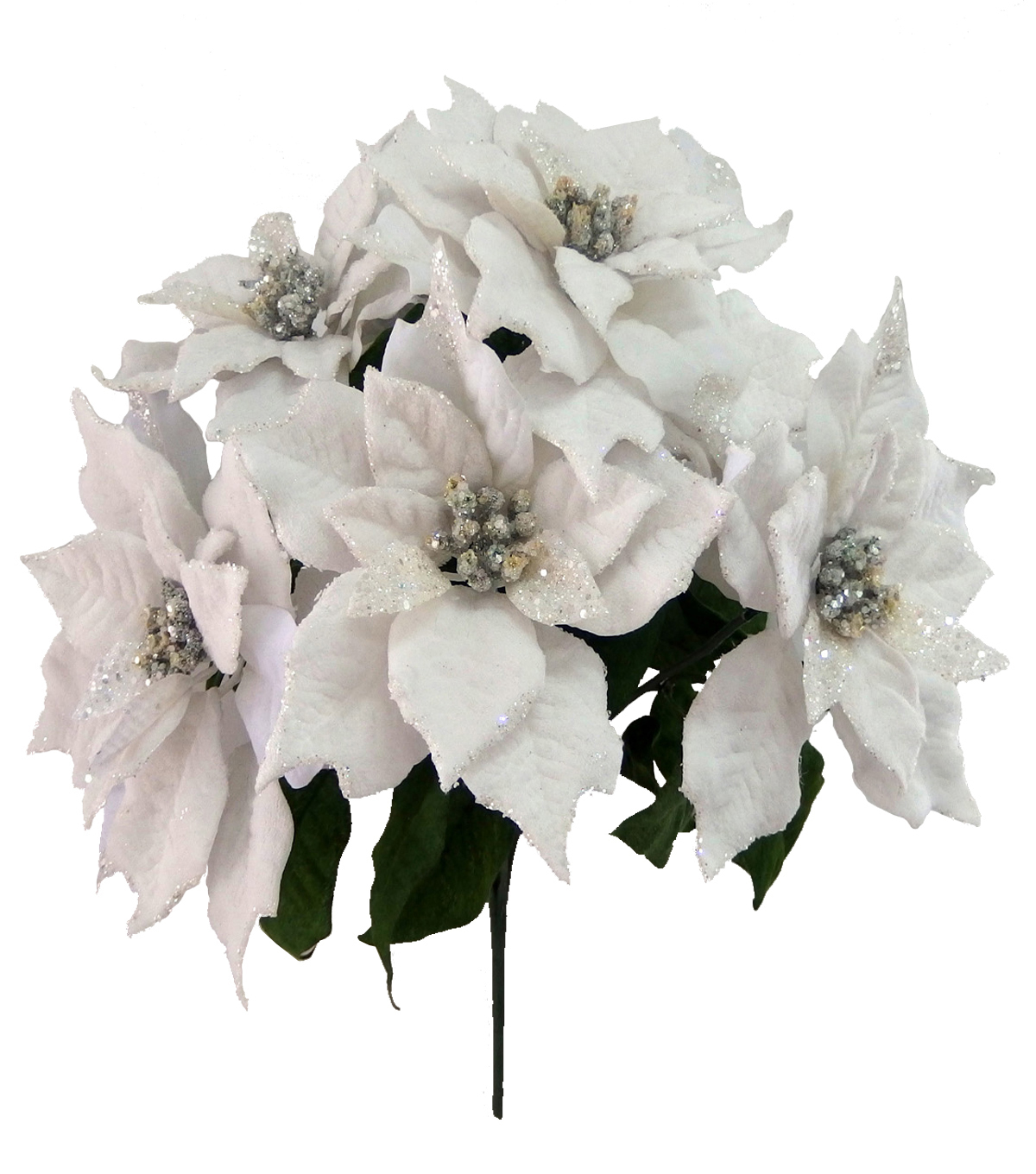 Blooming Holiday Christmas Velvet Gem Poinsettia Bush-White