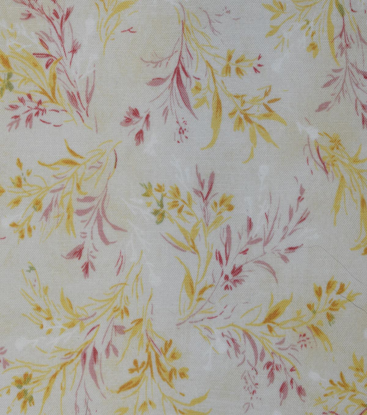 Vintage Premium Cotton Fabric -Yellow Whispy Vines
