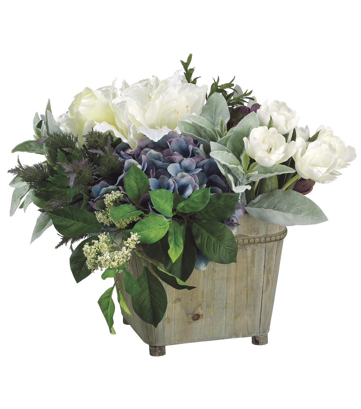 Hydrangeas, Tulips & Artichokes in Wood Container 14\u0027\u0027-White & Green