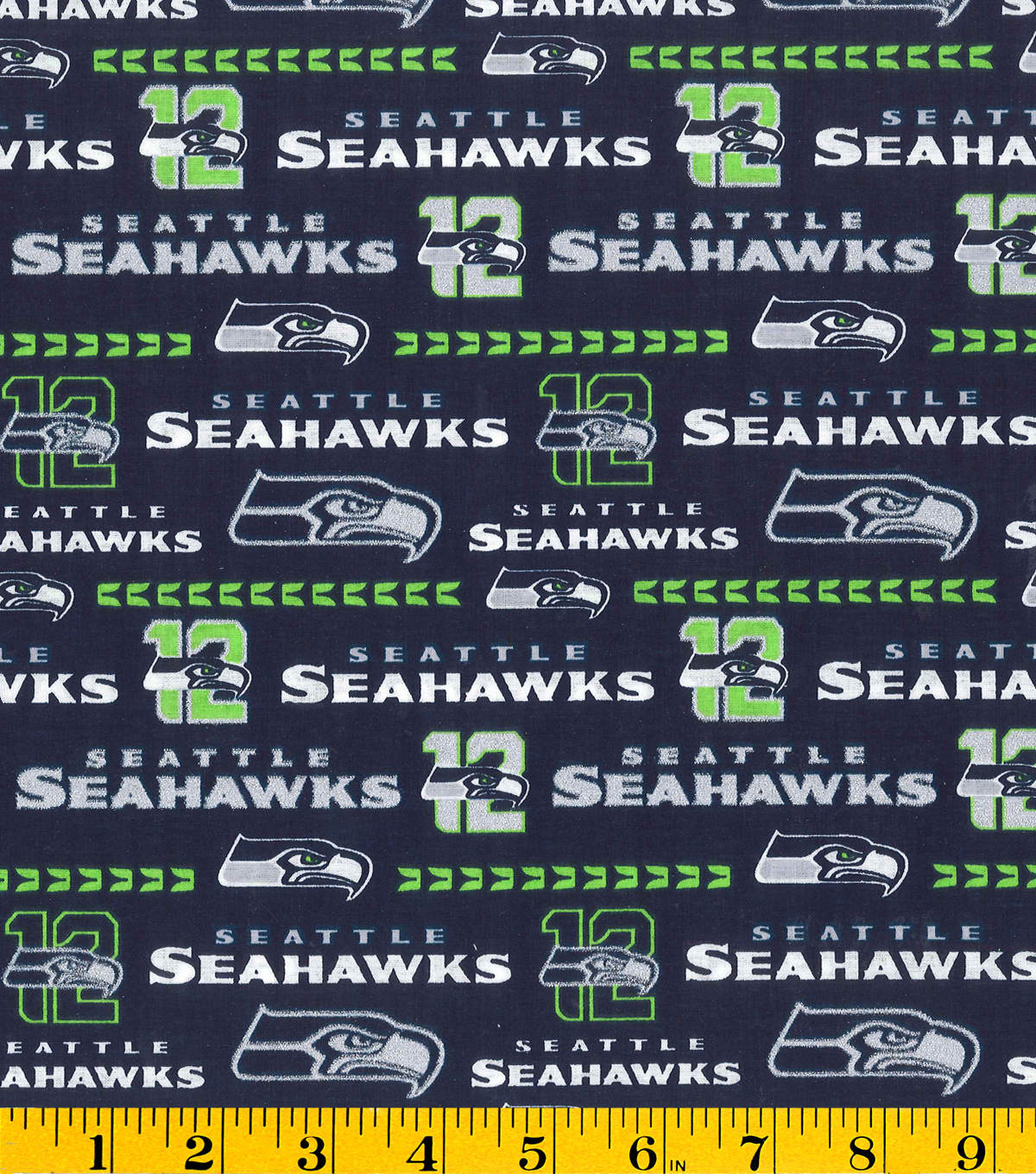 Seattle Seahawks Cotton Fabric -Glitter