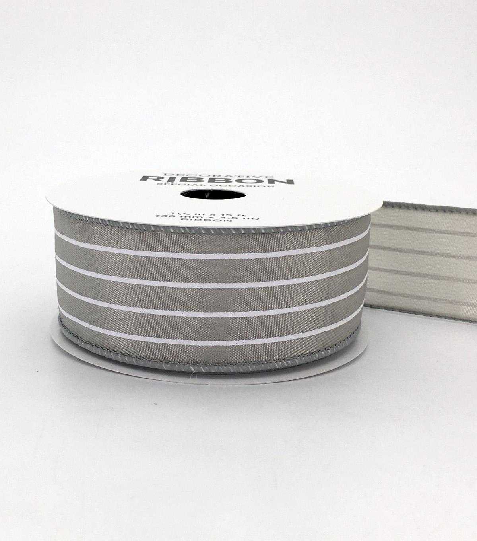 Save the Date Ribbon 1 5''x15'-White Stripes on Light Gray