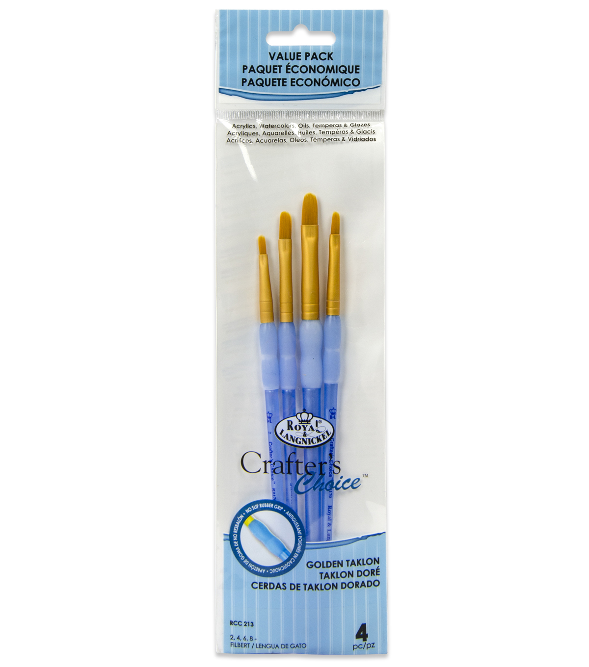 Royal & Langnickel Filbert Brush Set 4pk-Golden Taklon