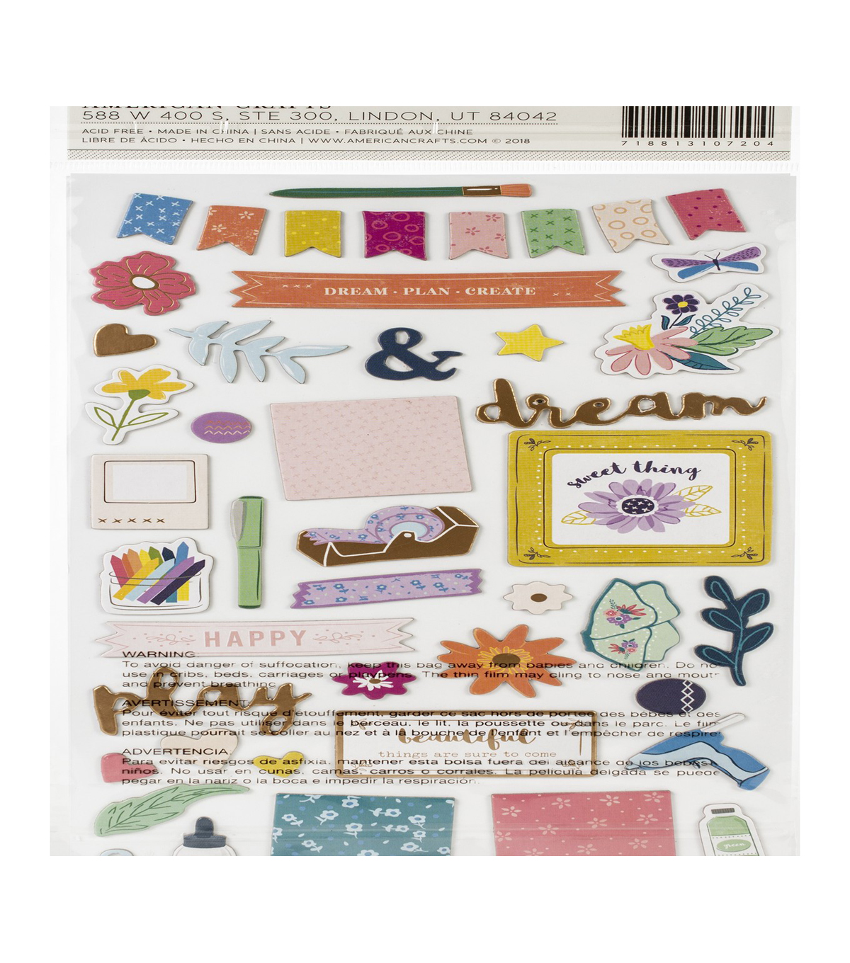 Paige Evans Whimsical Thickers Stickers-Icons, Chipboard W/Copper Foil