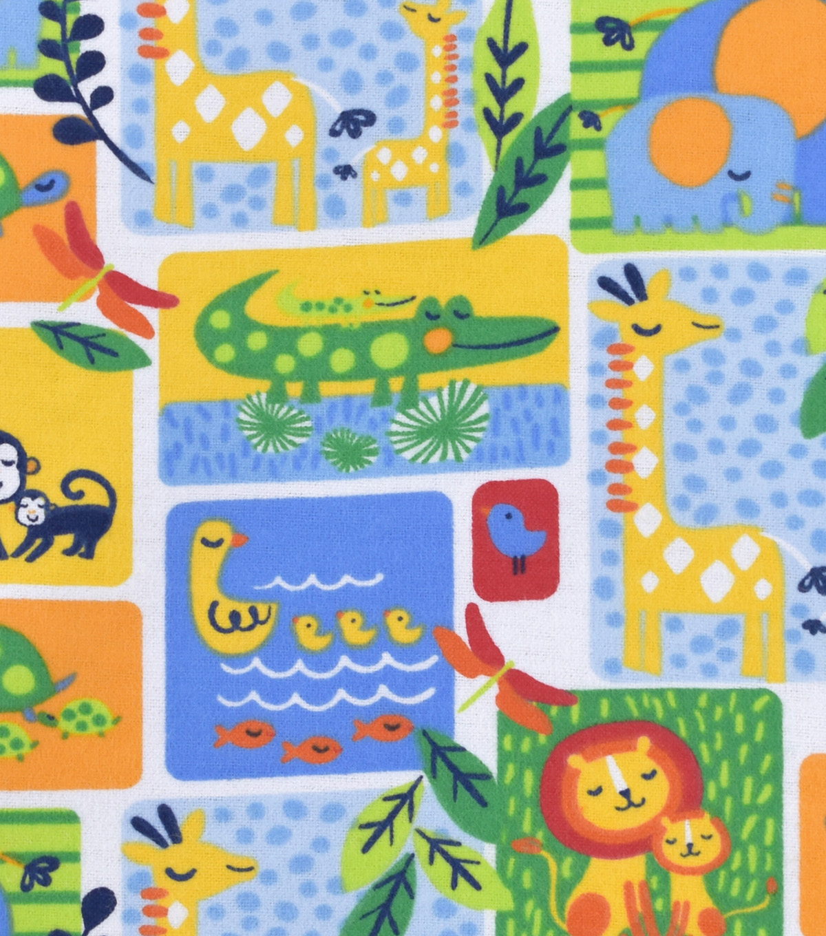 Nursery Flannel Fabric -Bright Jungle Patch