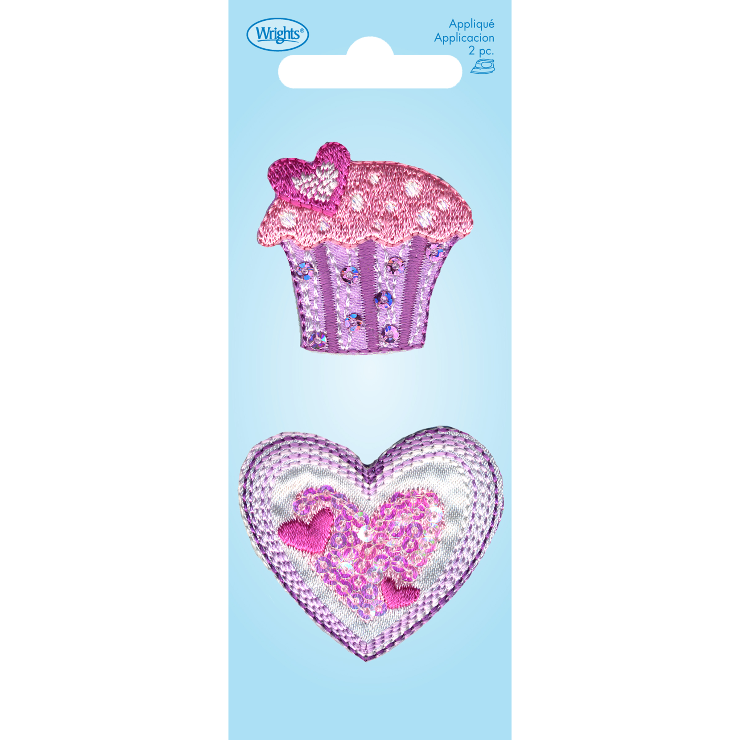 Wrights Iron-On Applique-Cupcake Heart