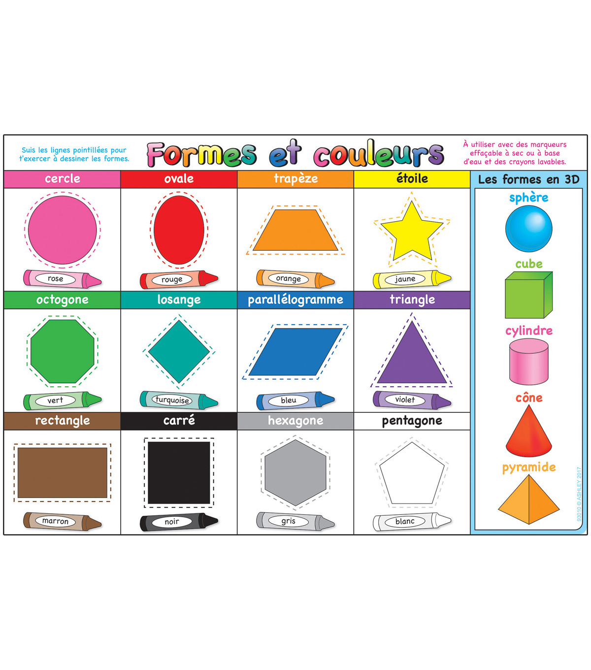 French Immersion Chart Shapes & Colors 10pk