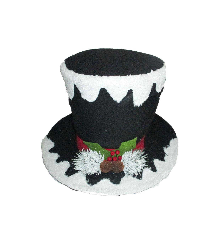 Maker S Holiday Whimsy Workshop Snowman Hat Tree Topper Black Glitter