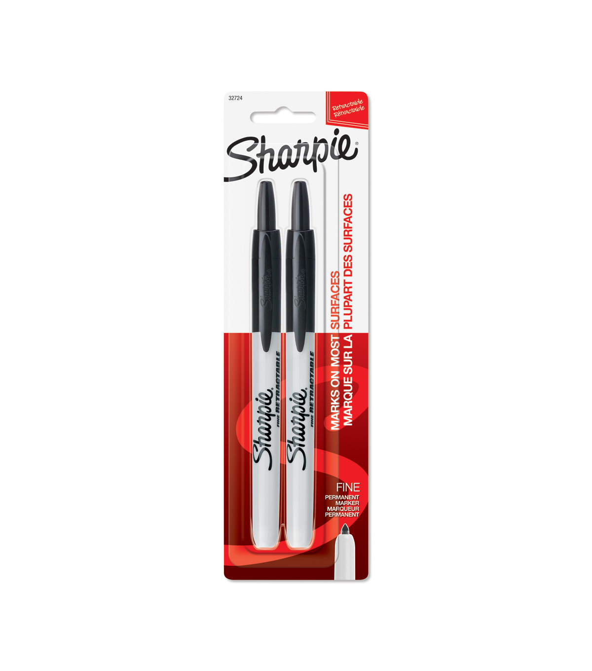 Sanford Sharpie Retractable Fine Point 2Pk-Black