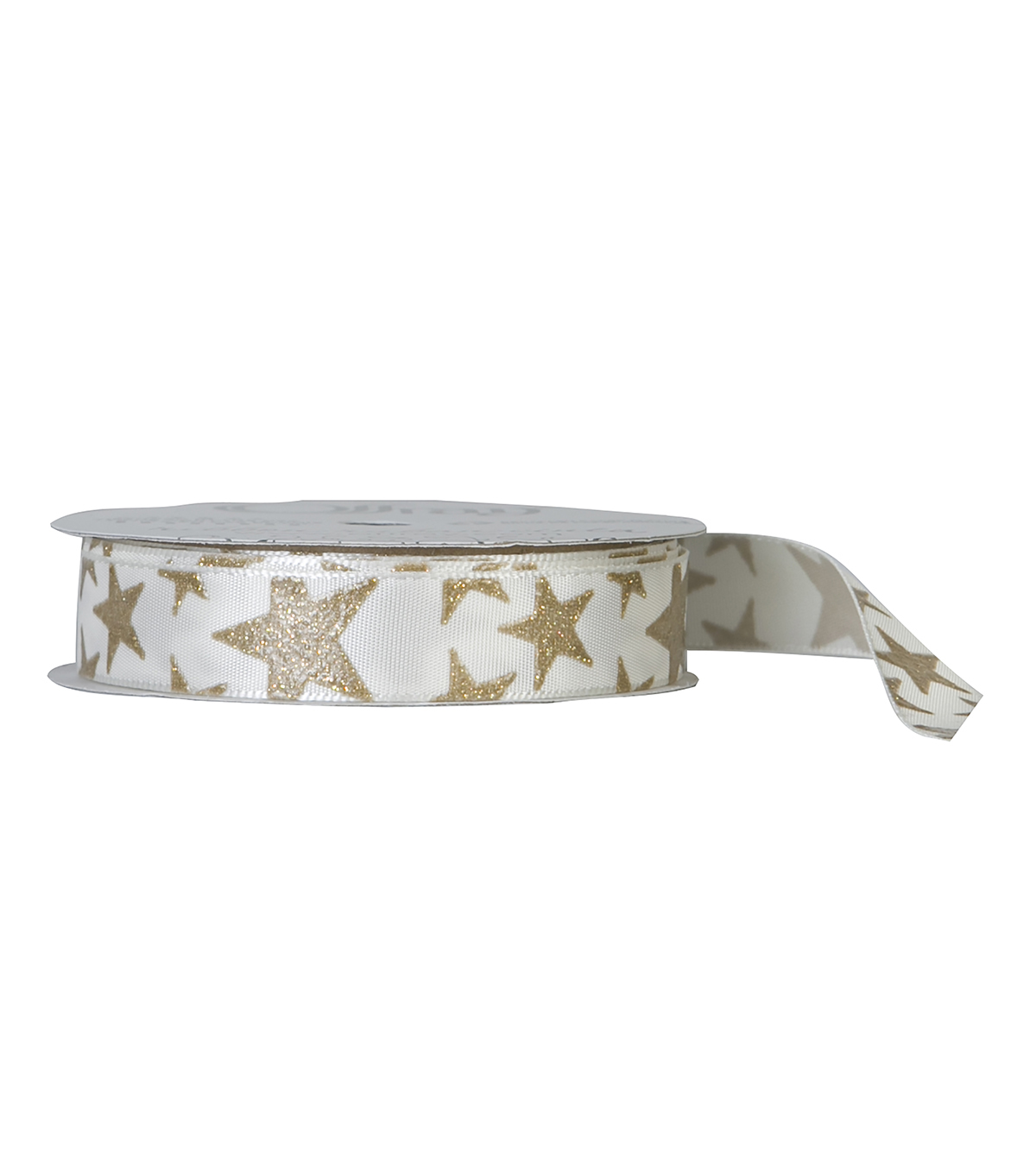 Offray 5/8\u0022x9\u0027 Crystal Stars Grosgrain Ribbon-Antique White and Gold