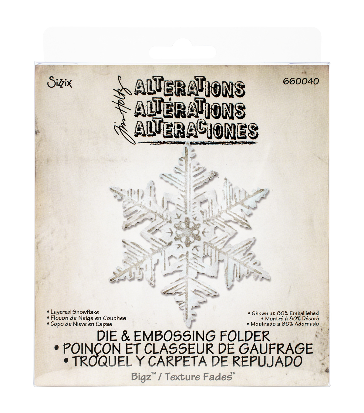 Sizzix Tim Holtz Layered Snowflake Bigz Die With A2 Texture Fades Folder