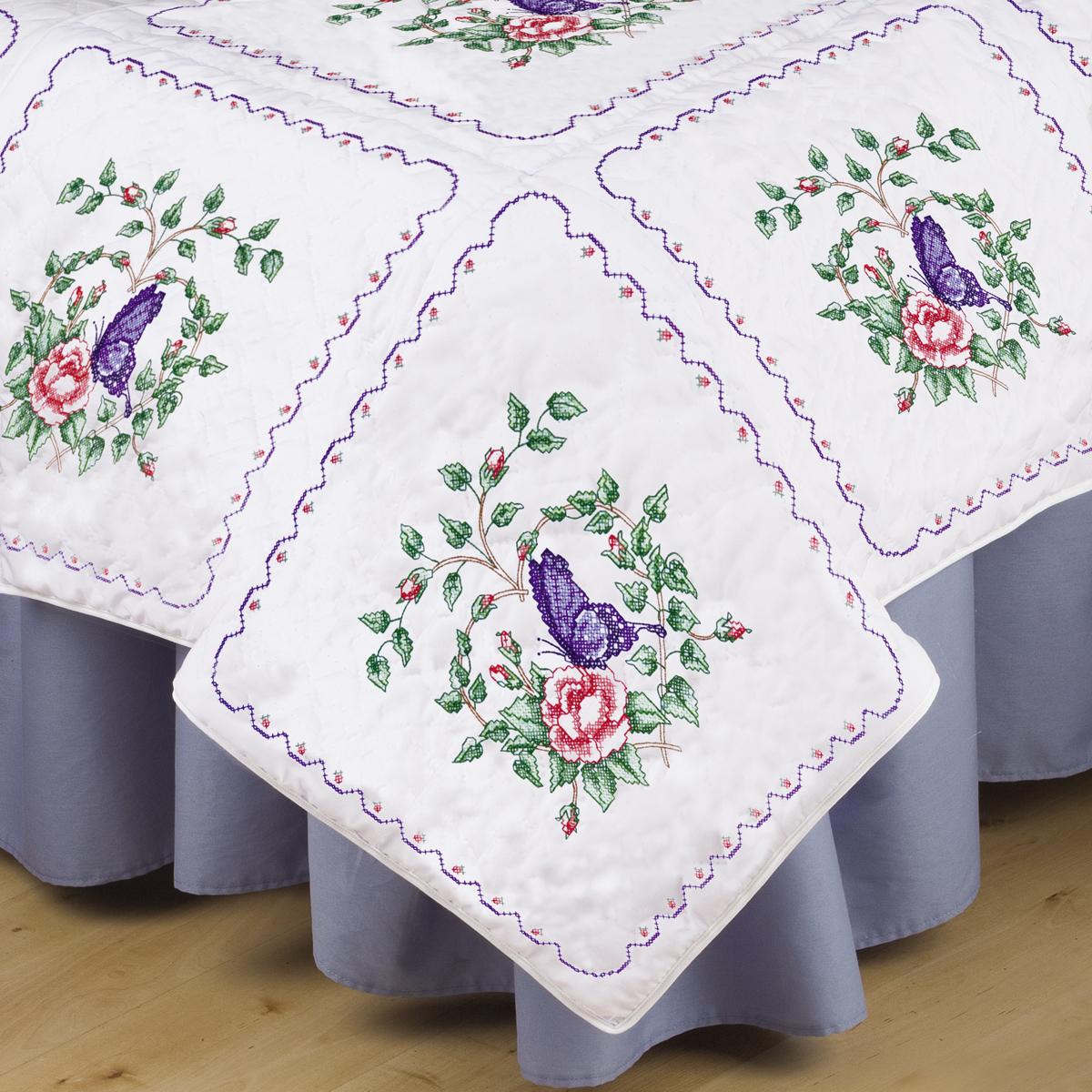 Stamped White Quilt Blocks 18x18 6pkg Butterfly Heart Joann