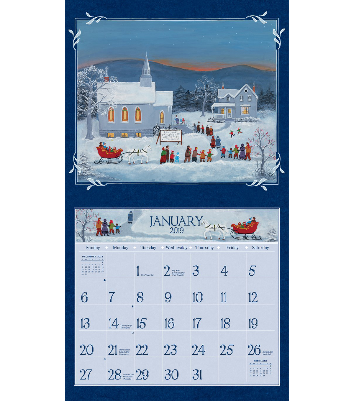 LANG Folk Art 2019 Wall Calendar