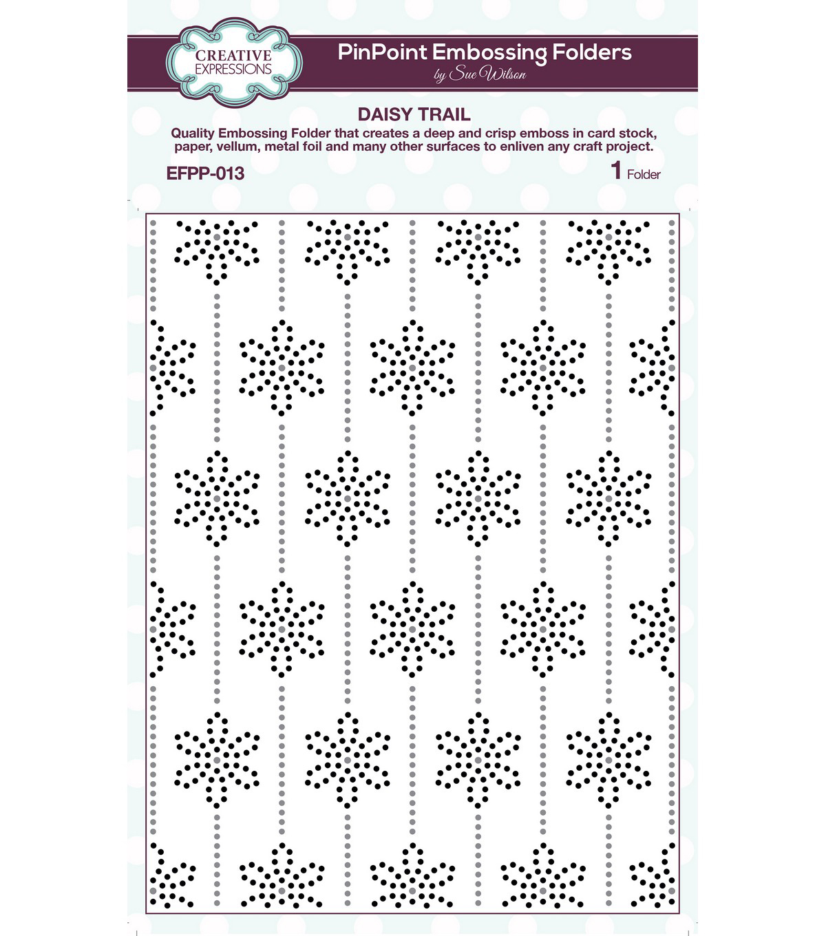Creative Expressions PinPoint Embossing Folder 5.75\u0022x7.5\u0022-Daisy Trail