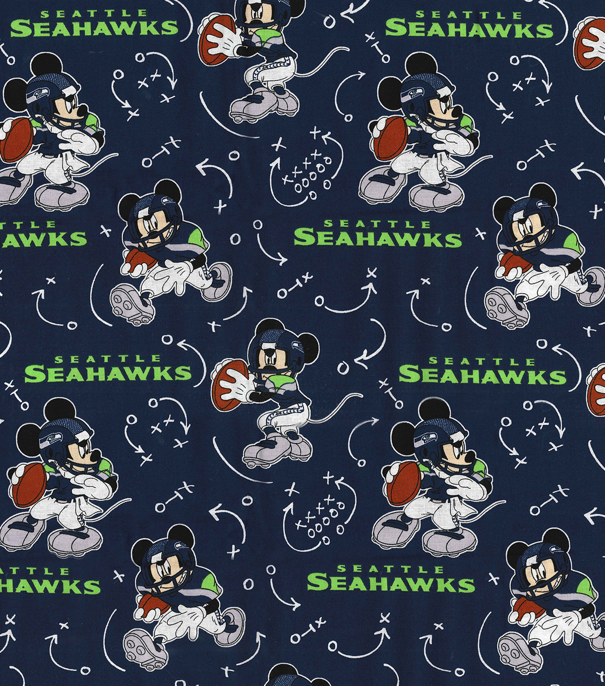 Seattle Seahawks Cotton Fabric-Mickey Mouses
