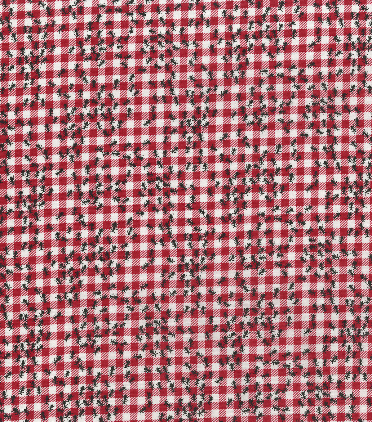 Novelty Cotton Fabric -Ants on Gingham