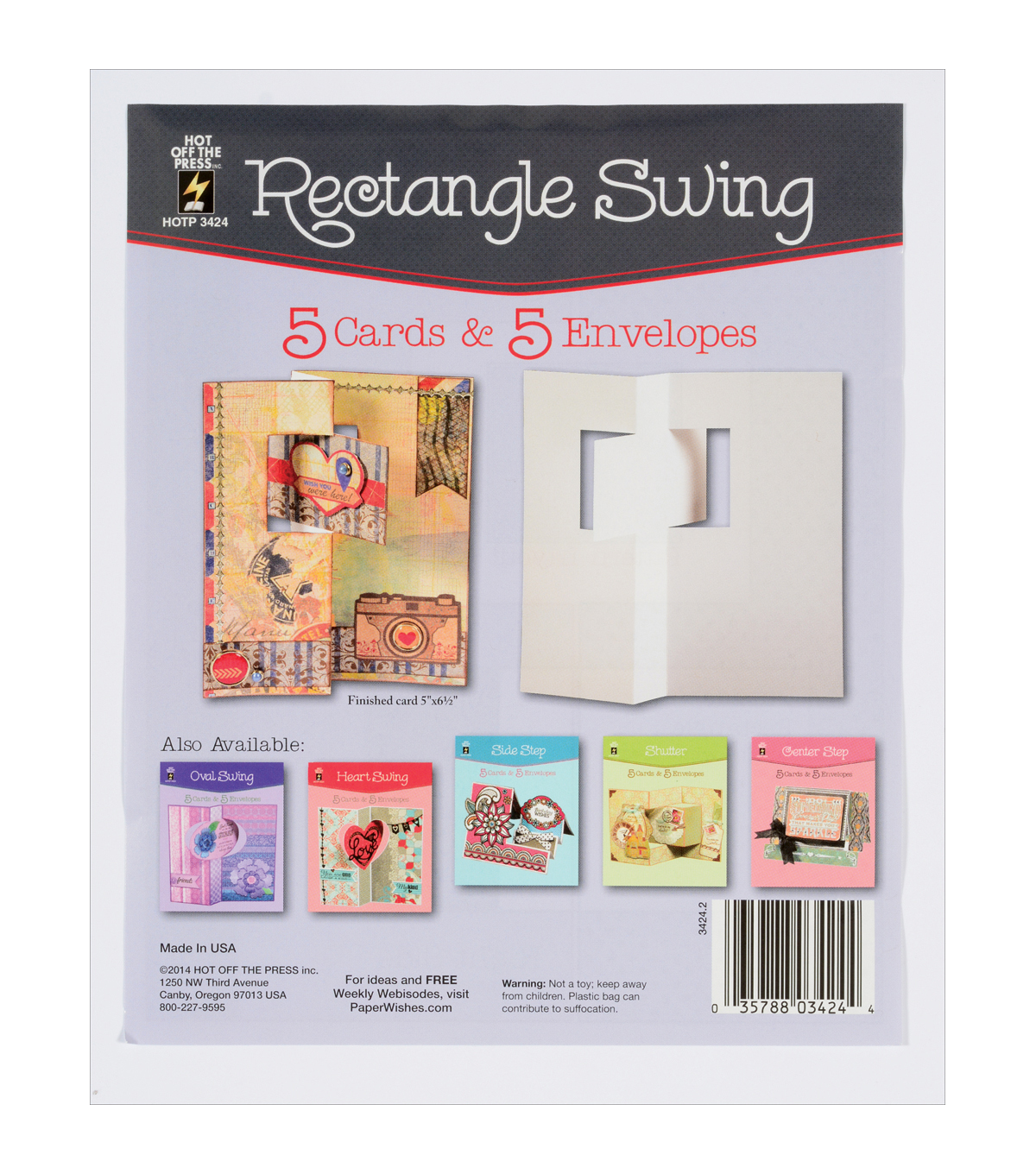 Hot Off The Press Rectangle Swing Die-Cut Cards With Envelopes