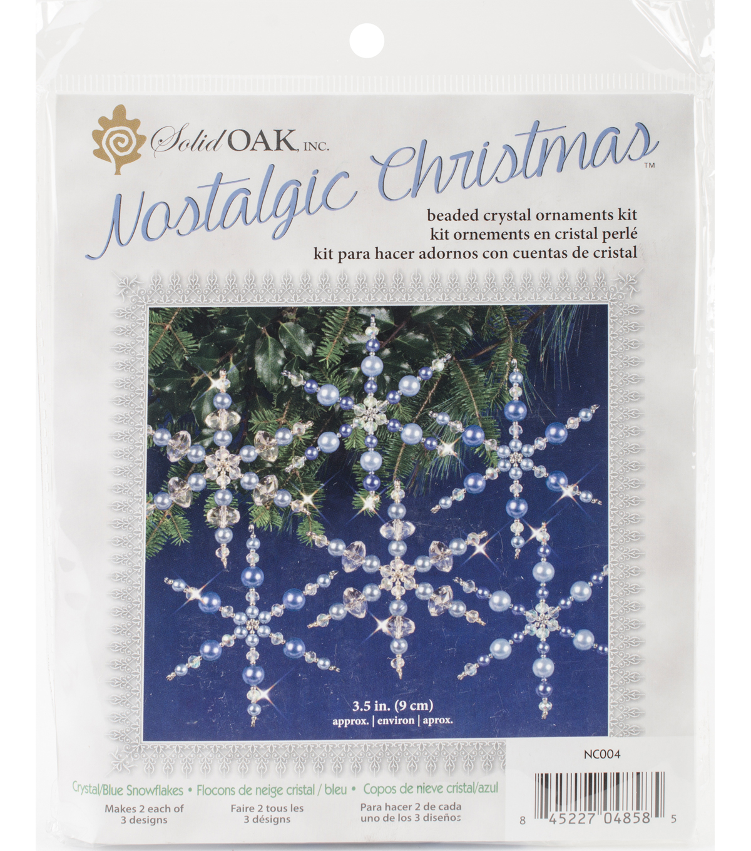 Solid Oak Nostalgic Christmas Beaded Crystal Snowflake Ornament Kit ...