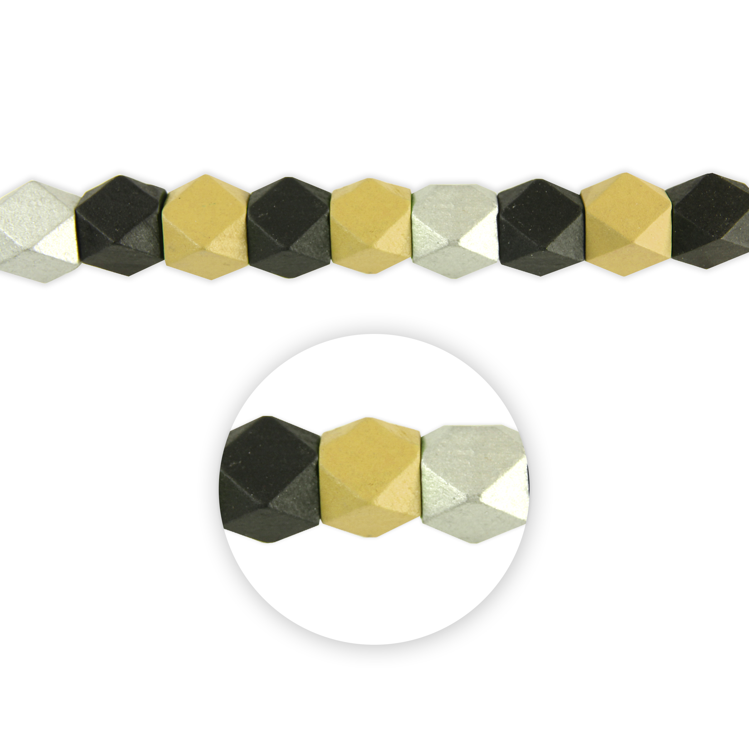 Blue Moon Beads Strand 7\u0022 Wood Cube/Polygon, Black Multi, Painted