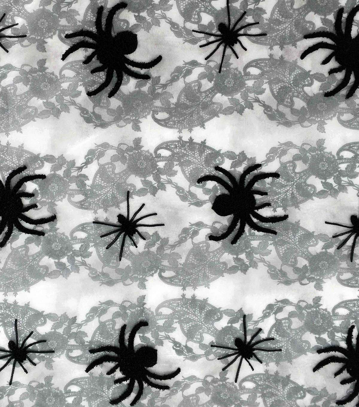 The Witching Hour Halloween Organza Fabric 57\u0022-3D Spiders