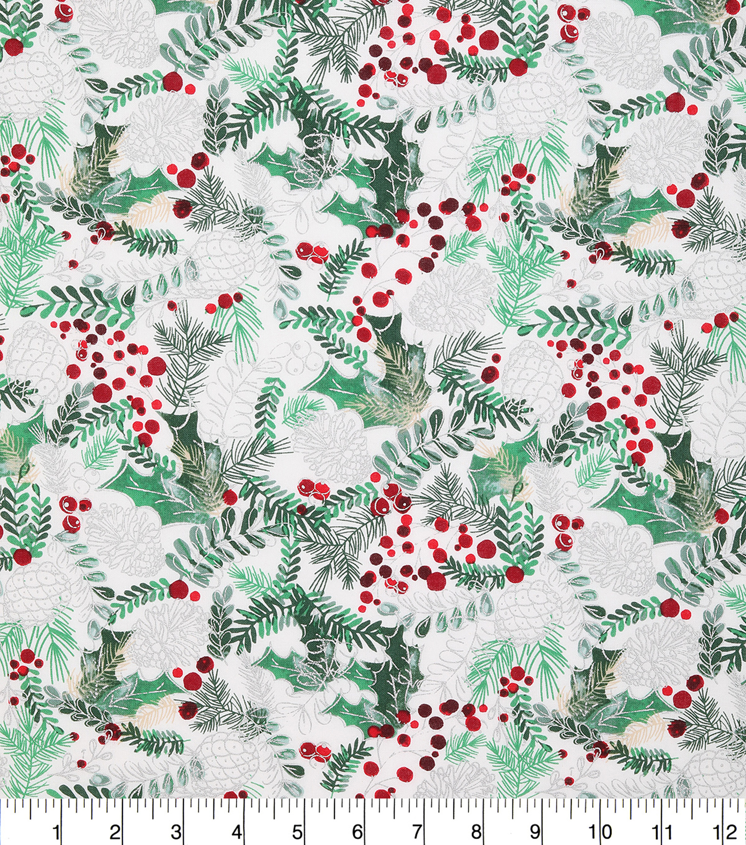 Christmas Cotton Fabric 43\u0022-Sketched Holly Pinecones
