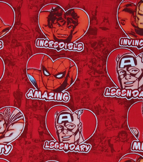 Valentine\u0027s Day Fabric -Marvel Valentines Hearts