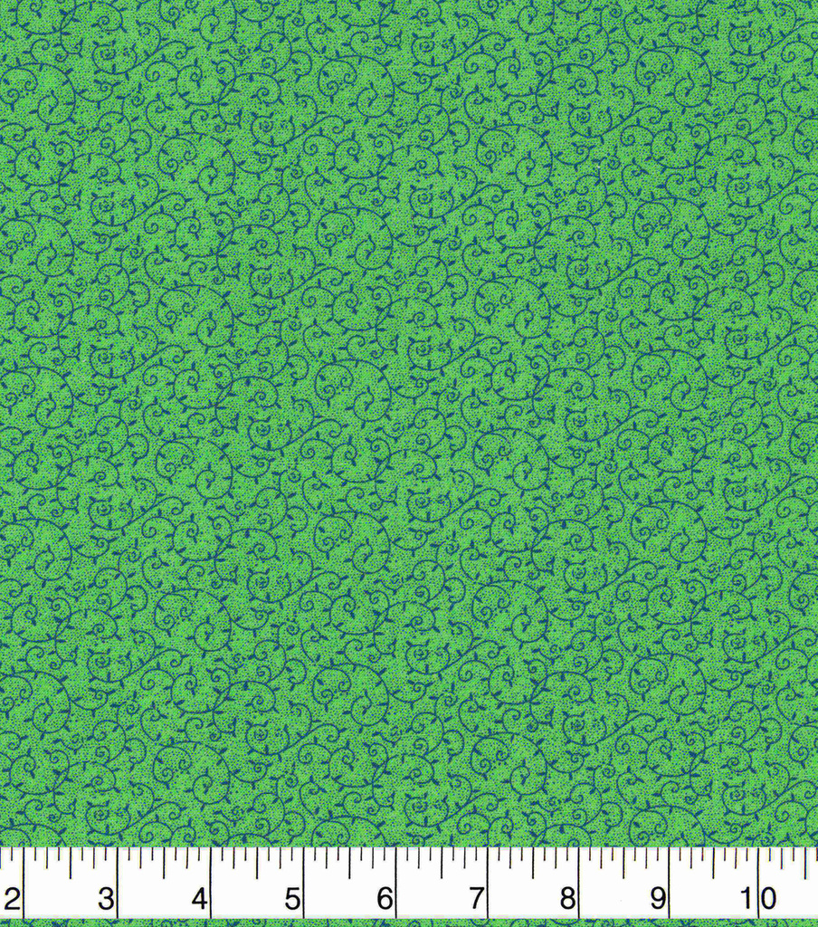 Keepsake Calico Cotton Fabric 43\u0022-Floral Vines on Green