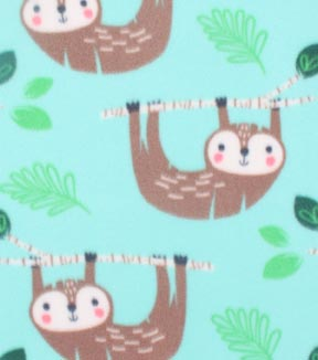 Blizzard Fleece Fabric -Happy Sloths