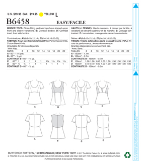 Butterick Pattern B6458 Misses\u0027 Pullover, Paneled Tops-Size 14-22