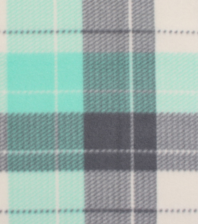 Blizzard Fleece Fabric -Ice Green Dakota Plaid