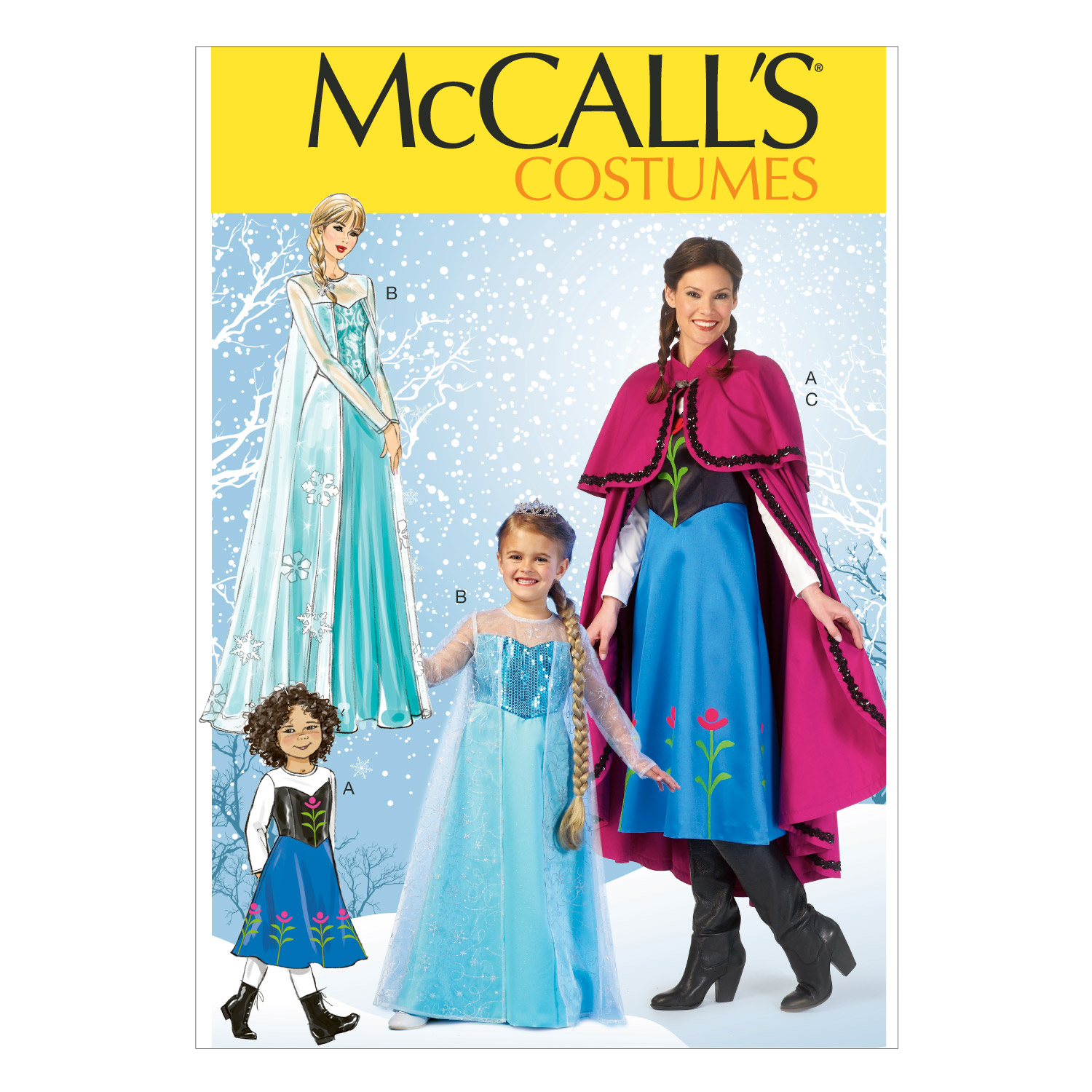 McCall\u0027s Pattern M7000-Winter Princess Dresses, and Cape with Collar and Capelet, Sizes 8-10