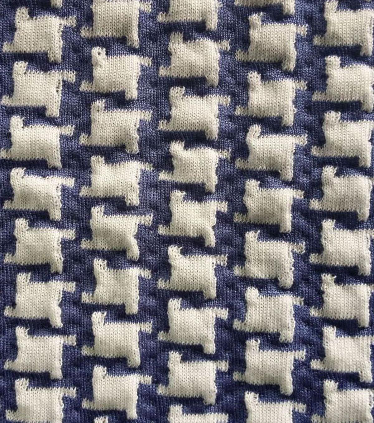 Doodles Majestic Knit Fabric- Houndstooth Blue White | JOANN
