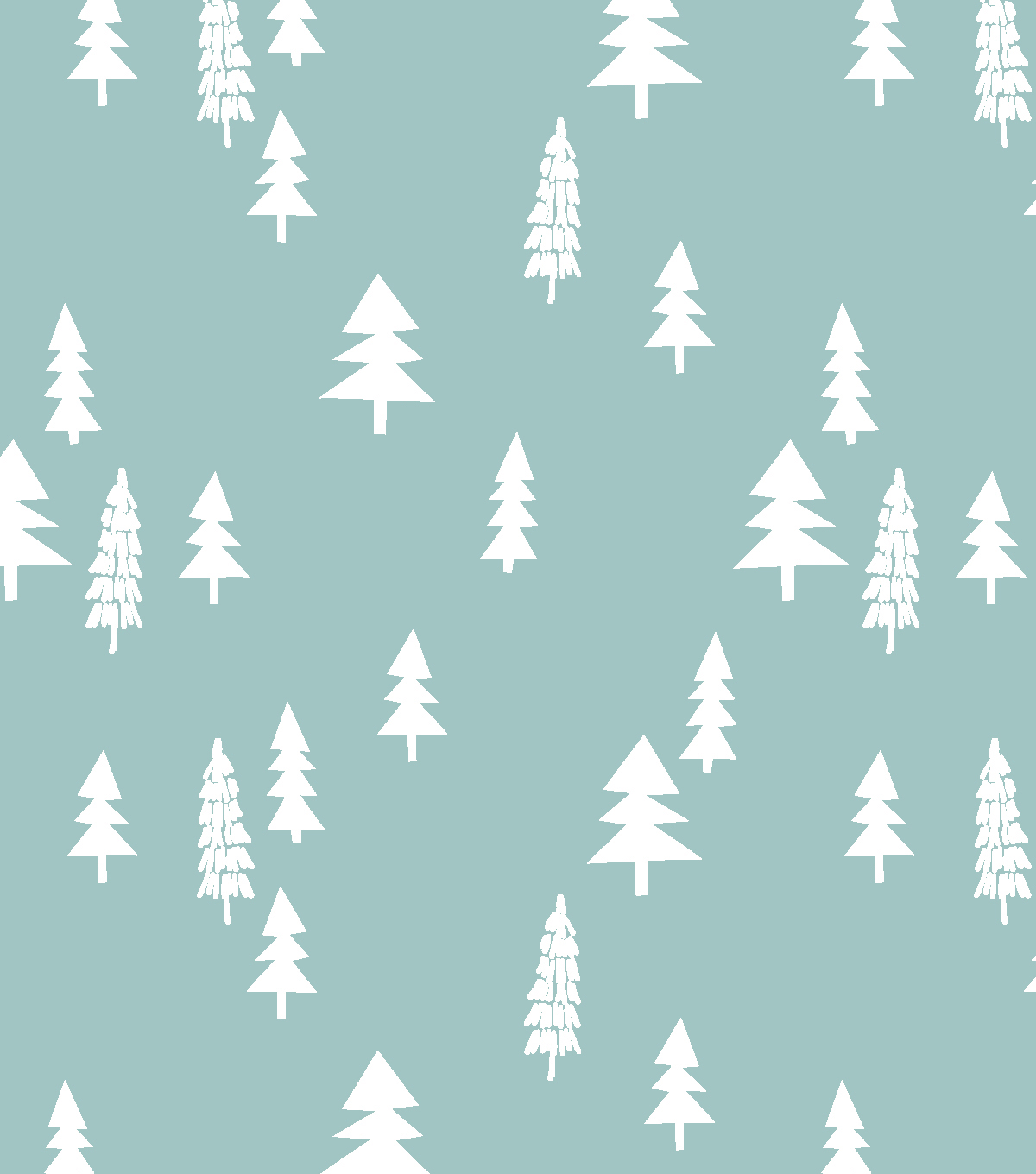 Nursery Flannel Fabric-Woods White Trees