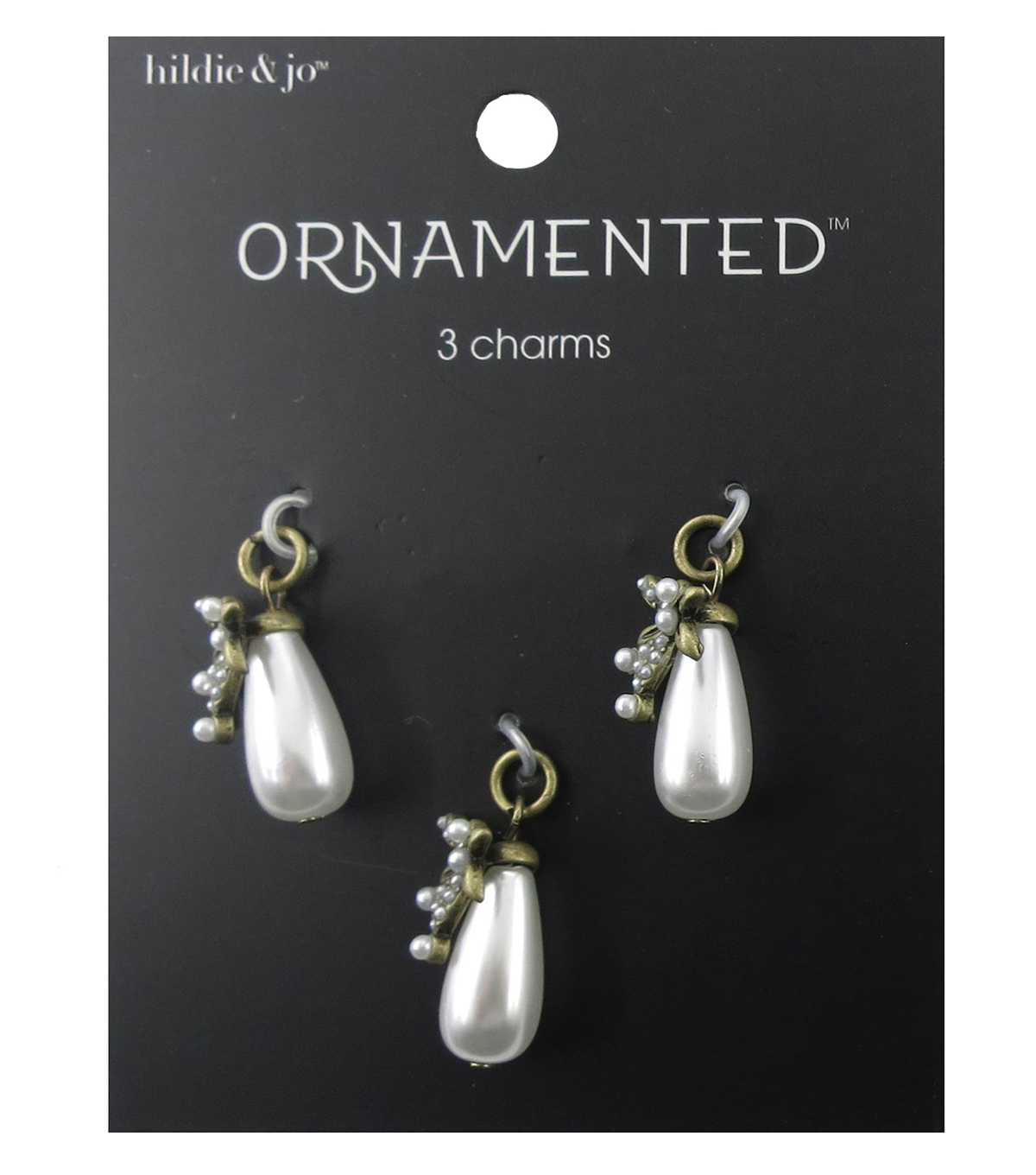 hildie & jo Ornamented 3 Pack Antique Gold Charms-Teardrop Pearl