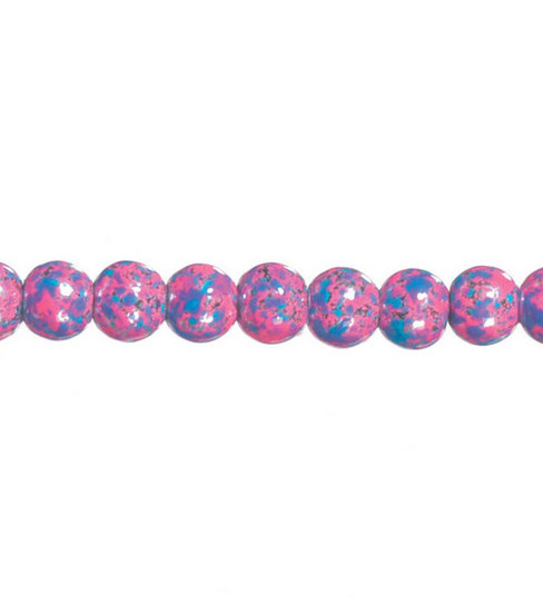 Darice 8mm Marble Glass Beads-7\u0022/Blue&Pink