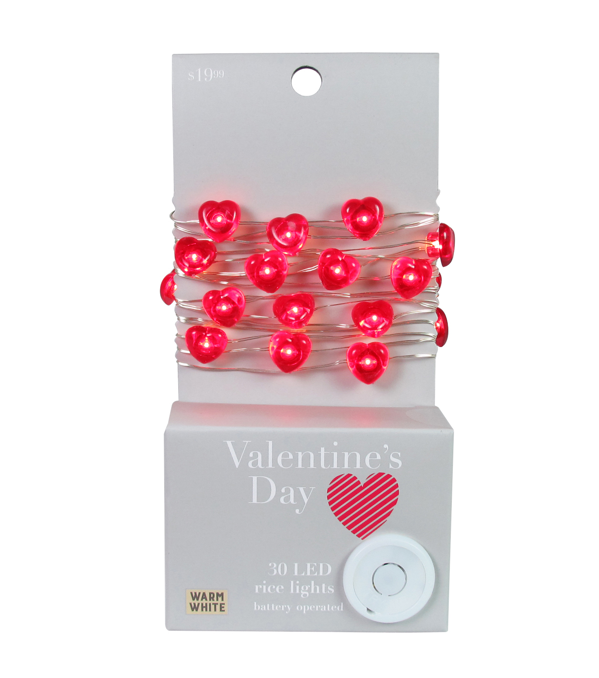 Valentine\u0027s Day Decor 30 ct Red Hearts with Warm White LED Rice Lights