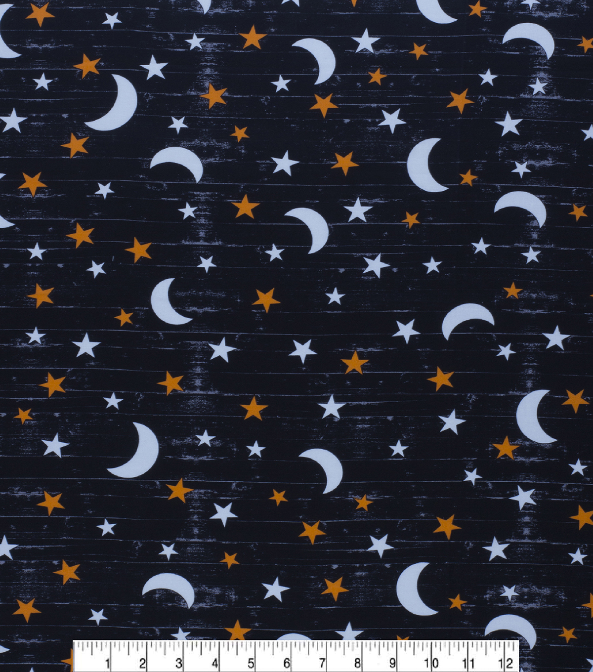 Halloween Cotton Fabric-Large Moon & Stars Glow