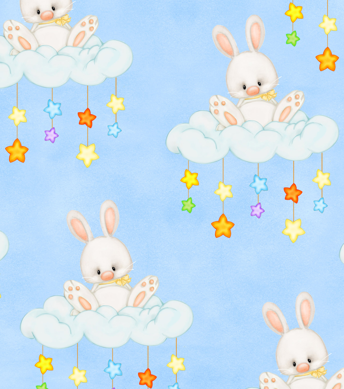 Snuggle Flannel Fabric -Bunnies on Floppy Clouds