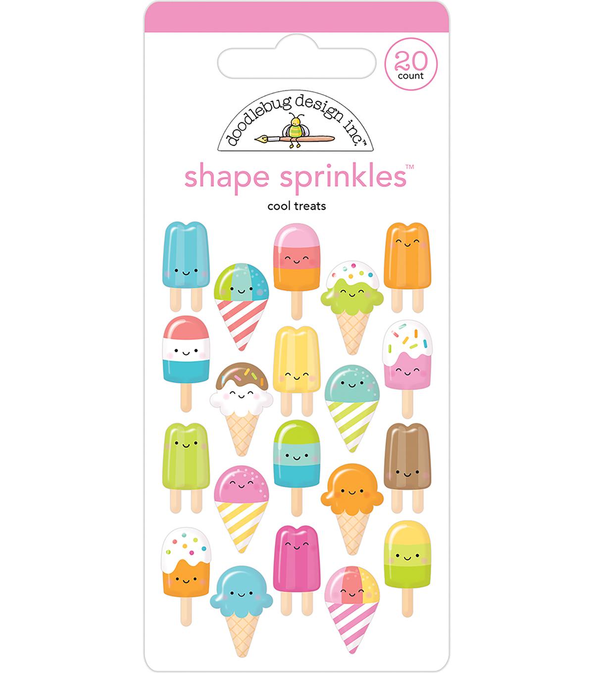 Doodlebug Design 20 pk Shape Sprinkles Glossy Enamel Stickers-Cool Treat